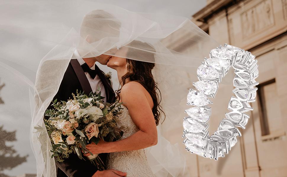 Pear Cut Sterling Silver Wedding Ring