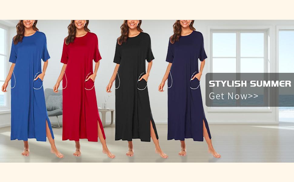 LonoLaka Womens Short Sleeve Round Neck Loungewear Oversized Loose Slit Long Dress With Pockets