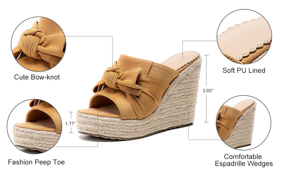 platform slide sandals casual espadrille wedges summer sandles peep toe bohemia