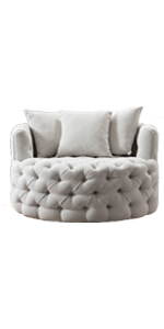 Swivel Accent Barrel Chair Modern Sofa Lounge Club Round Chair Linen Fabric for Living Room