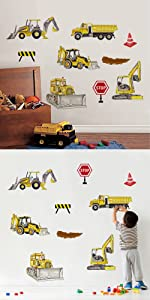 construction wall decals truck excavator wall stickers boys wall decor