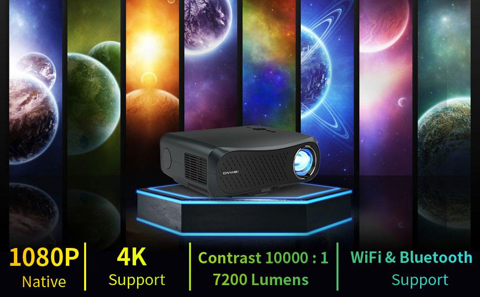 1080P Projector WiFi Bluetooth Projector portable mini projector Android   movies cinema Projector