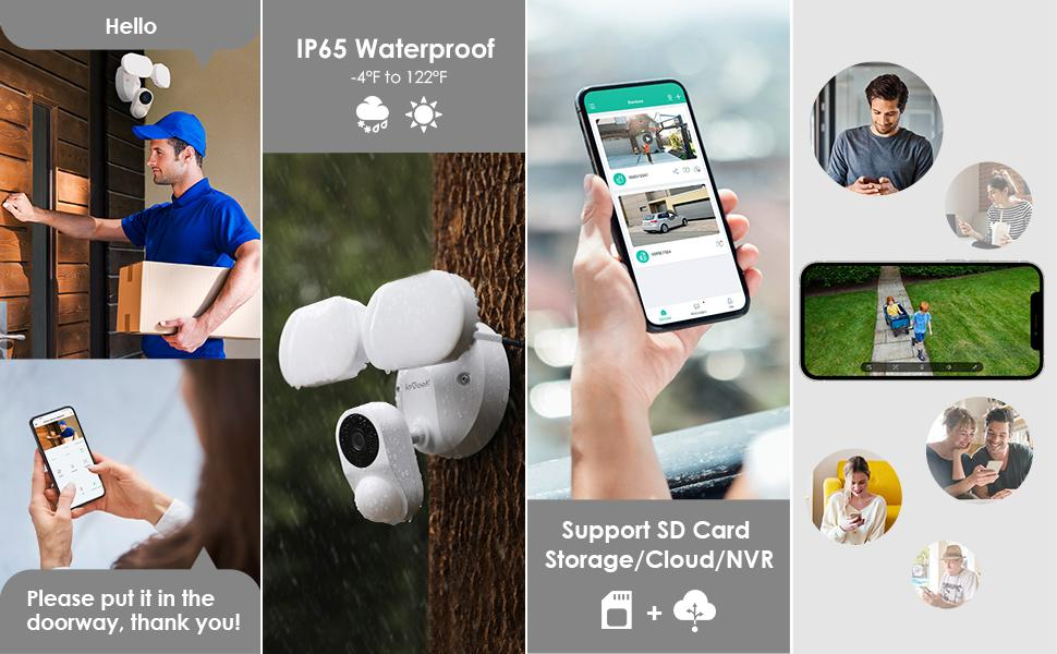 Two-Way Audio, IP65 Waterproof, Support SD Card Local Storage,Shared User Access