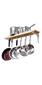 36 by 8-Inch  Wall Mounted Wooden Pot Rack