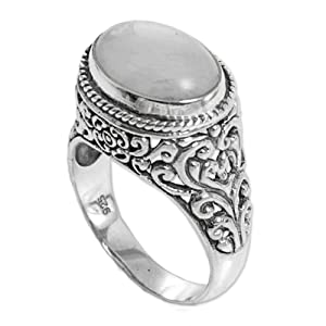 NOVICA,Moonstone ,Sterling Silver,Ring,Pearls,Gemstone,Band,White,Grey,Metal,For Women,Gift,Jewelry
