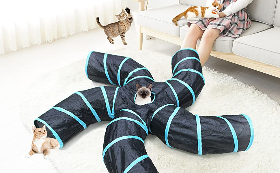 Five way curve folding cat Tunnel Toy, maze interactive tube toy suitable for kittens