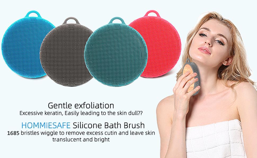 Soft Silicone Shower Brush Body Wash Bath Exfoliating Skin Massage Scrubber