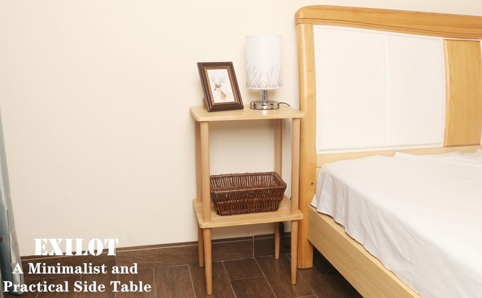 Solid Wood Nightstand Tall Side Table End Table Bedside Table