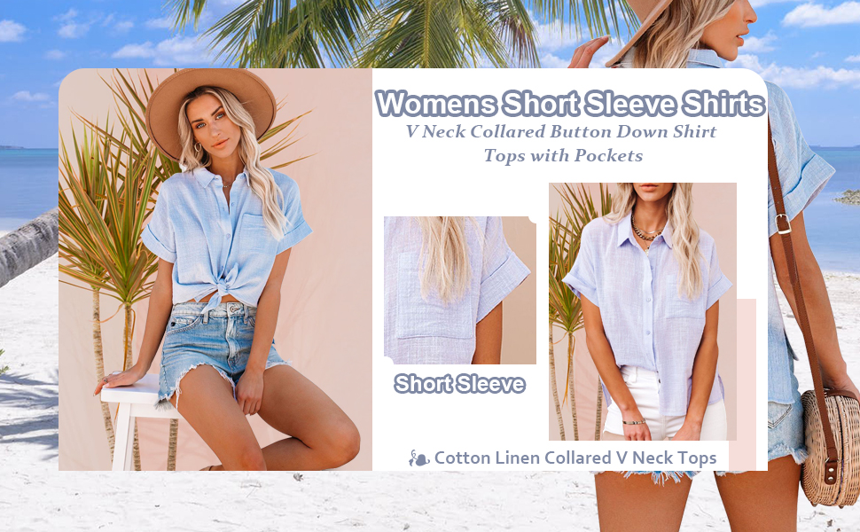 Women's Short Sleeve Henley Tee Half Button Down V Neck Loose Shirts Blouse Tops with Pocket