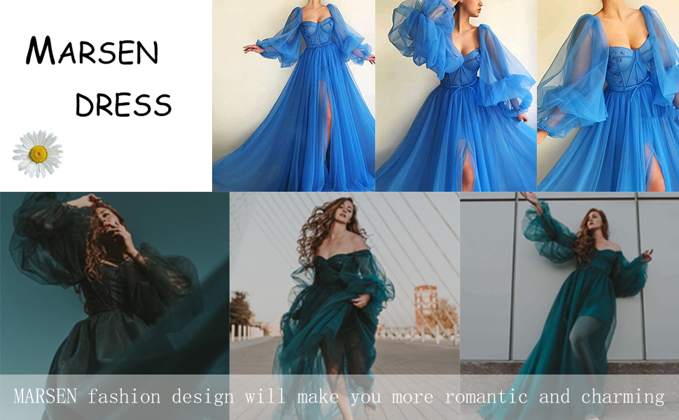 Puffy Sleeve Ball Gowns for Women Sweetheart Tulle prom dress Split Plus Size Wedding Dresses