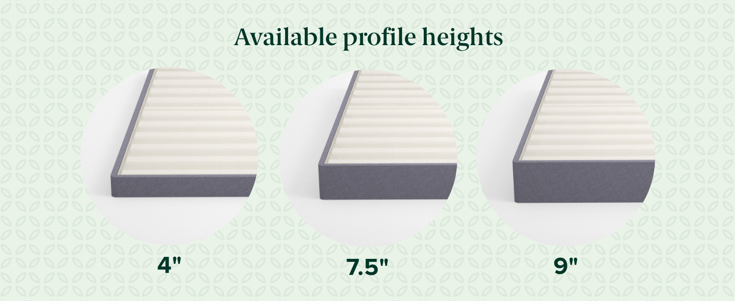 Upholstered box spring available profile heights