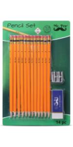 Mr. Pen- Pencils with Sharpener and Eraser