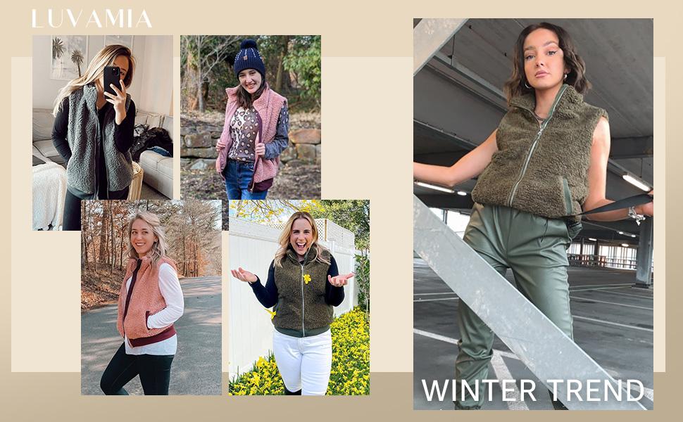 luvamia Womens Casual Fleece Vest Warm Shepra Outerwear Sleeveless Zip Up Jacket Coat