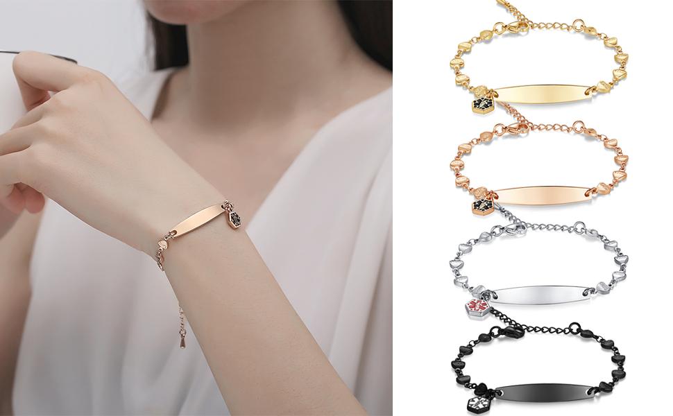 love heart chain medical id bracelets