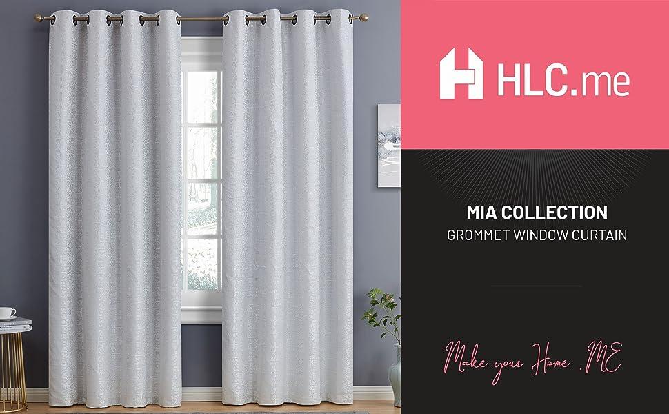 Mia Collection Grommet Window Curtain White