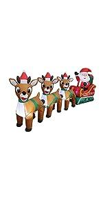8 Foot Long Lighted Christmas Inflatable Santa Claus on Sleigh with Three Reindeer Deer