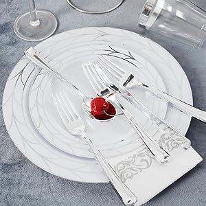 silver plastic plates
