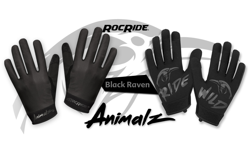 ROCRIDE ANIMALZ BLACK RAVEN CYCLING GLOVES