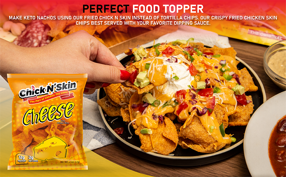 perfect food topper keto nacho crispy chicken skins dip with sauce low carb snacks gluten free