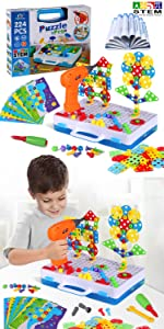 224 Pieces the trendy bits drill set stem activities for kids ages 3-5