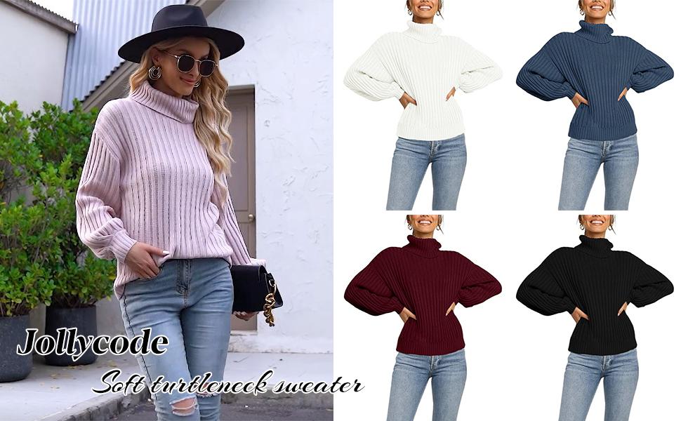 Jollycode Soft Knit Turtleneck Sweater