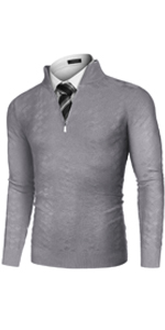COOFANDY Men's Quarter Zip Sweaters Slim Fit Casual Knitted Mock Turtleneck Pullover
