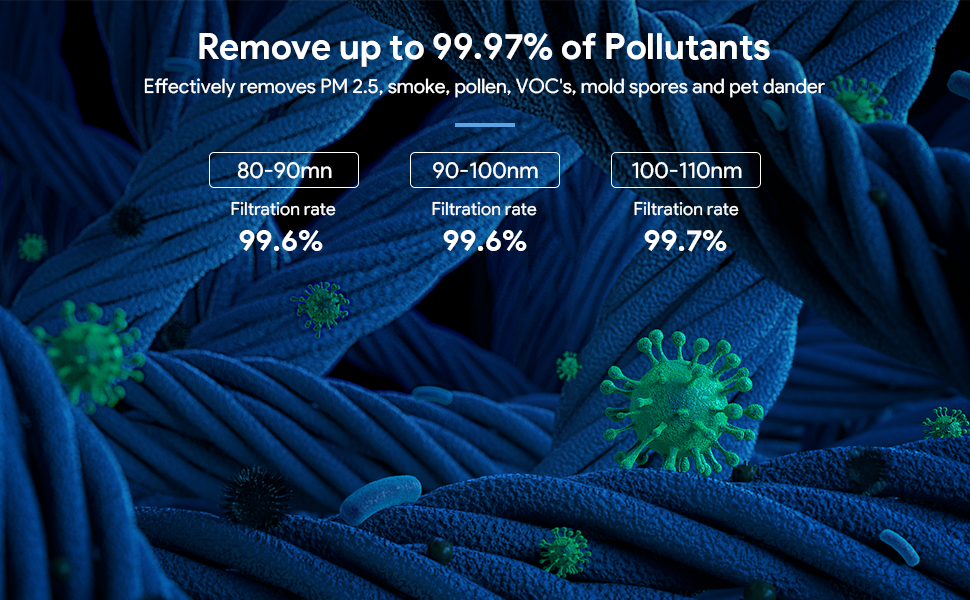 Remove up to 99.97% of Pollutants