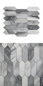 Bardiglio Gray Long Hexagon Marble Mosaic Tile