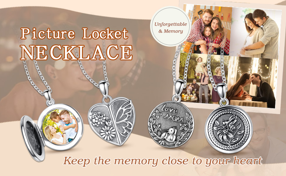 photo locket necklace for women
