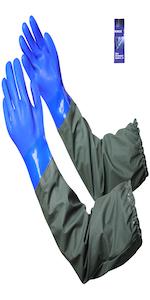 Extra-long 27.5amp;#34; Rubber Gloves, MUMUKE Chemical Resistant Gloves PVC Reusable Heavy Duty Waterpr