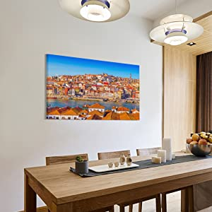 canvas wall art hanging on kitchen room