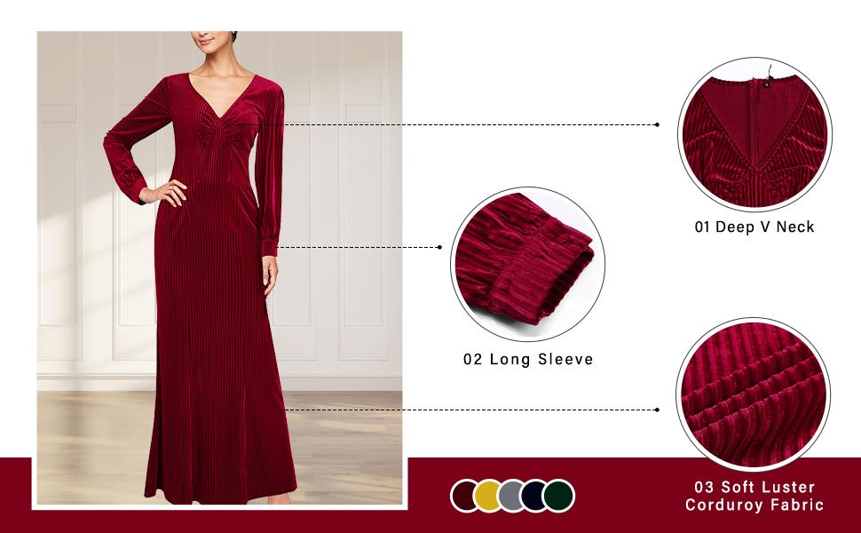 Women's Long Sleeve V-Neck Dress