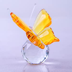 BMILY Crystal Flying Butterfly with Crystal Ball Animal Collectible Figurines
