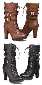 punk mid calf boots for women