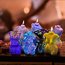 Four styles of candle molds allow you to enjoy your creativity.