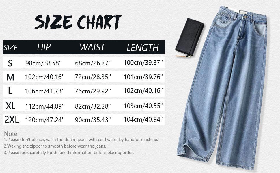 denim trouser pants jeans loose fit wide-leg jean for women