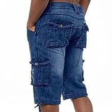Kruze shorts, blue shorts, mens blue shorts, mens denim shorts, mens shorts with pockets, big shorts