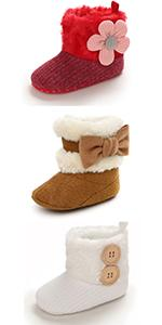 Baby Girl Plush Winter Snow Boots Bowknot Anti Slip Warm Infant Boots Toddler Prewalkers