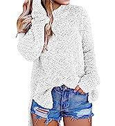 MEROKEETY Womenamp;#39;s Long Sleeve Sherpa Fleece Knit Sweater Side Slit Pullover Outwears