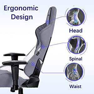 winged back,body-hugging design for natural curvature,ergonomic racing style gaming chair