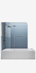DELAVIN 56-59 in. Semi-Frameless Sliding Tub Door, Mattet Black