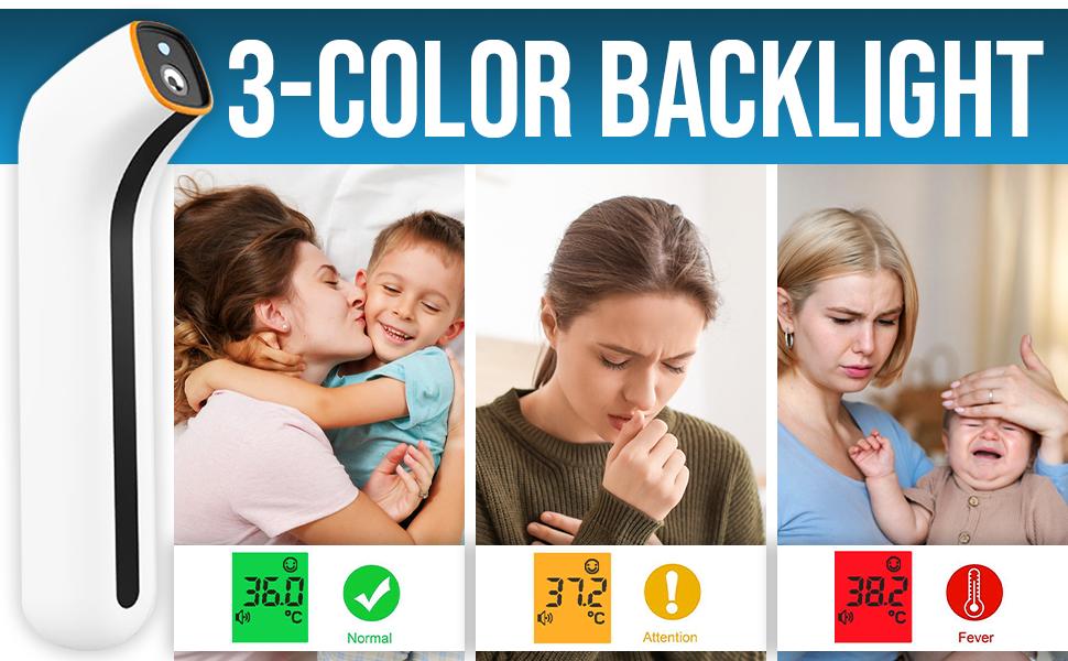 3-Color backlight thermometer temperature gun