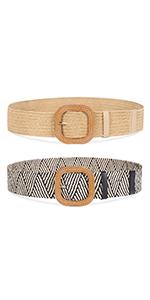 2 Pack Woven Womens Belts