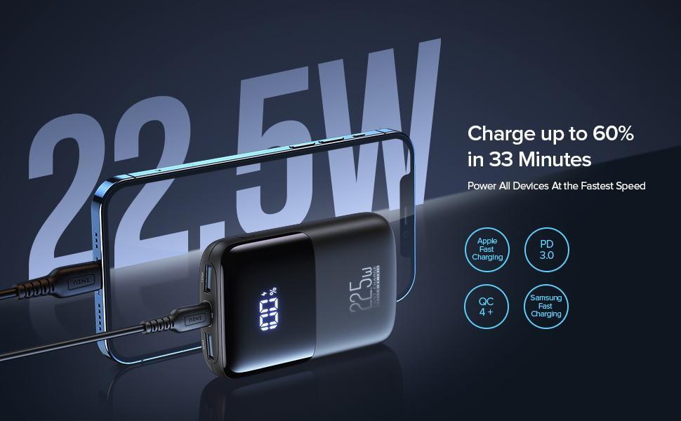 INIU 22.5W power bank fast charging