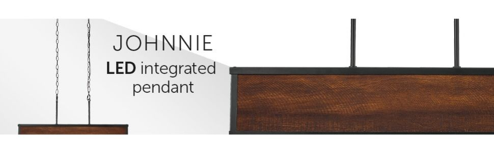 Johnnie 28W Integrated LED Dimmable Pendant Lighting, Dark Faux Wood, Frosted Diffuser, 1200 Lumens