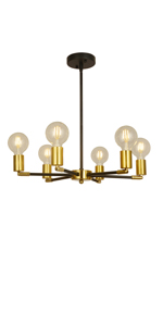 6 Lights Modern Sputnik Chandelier Gold/Black
