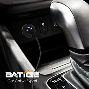 BATIGE - 2 PORTS DUAL USB 3.0 CAR MOUNT FLUSH CABLE detail