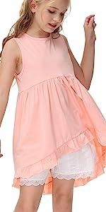 Caitefaso Girls Cute Shirts Summer Fall Ruffle Tunic Tops Sleeveless High Low Slim Blouses