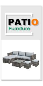 Patiorama 7 Pieces Outdoor Patio Furniture Set, Outdoor Sectional Conversation Set