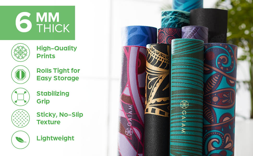 Gaiam Yoga Mat - 6mm Premium Print